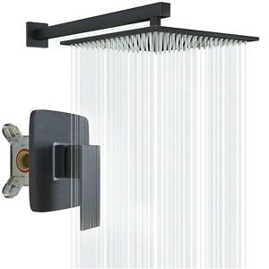 "8"" Matte Black Bathroom Shower Faucet Set Rainfall Shower Head with Mixing Valve"