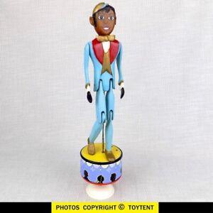 Wood toy jigger on tin wind-up tap dance platform ... SEE MOVIE!