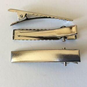 Hair Clips Silver Crocodile Alligator Bow Blank 40mm x 20 pcs DIY Metal Barette
