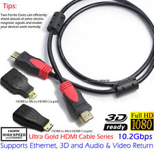 Gold 3FT HDMI Cable/Mini HDMI/Micro HDMI Coupler+2 Magnetic Rings HD 3D Xbox PSP