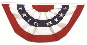 USA Pleated Fan Flag 3x6 Feet American US Bunting Flags Half Fan Banner 100D