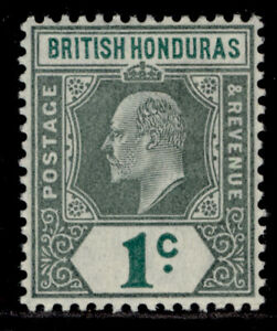 BRITISH HONDURAS EDVII SG84, 1c grey-green & green, LH MINT. Cat £22.