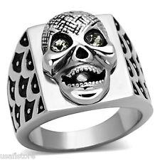 Mens Happy Skull Crystal Eyes Silver Stainless Steel Ring