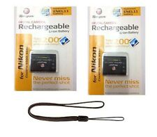 TWO 2X D-LI78 Batteries + Wrist Strap for Pentax Optio M50 M60 S1 V20 W60 W80