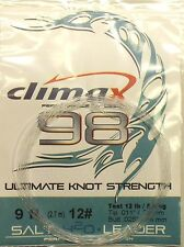 """Leader Climax Saltwater Fly Fishing9 ft.12# Test Tip .011"""" and Butt .025"""""""