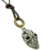 COLLIER pendentif mixte homme ou femme CUIR tête de mort Acier et anneaux doré