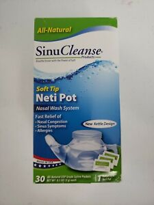 SinuCleanse Neti Pot Genie Style w/ 30 Pharmaceutical Grade Saline Packets