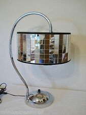 Chrome Table Lamp Mirror Tile Shade Circa 1960s Hollywood Regency Glam Glitz