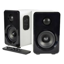 AV:Link Active Bluetooth Bookshelf Speakers for Studio TV MAC PC Laptop White