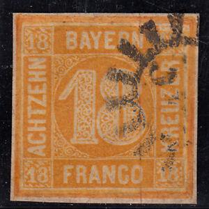 Altdeutschland // Bayern Quadrat 18Kreuzer  gestempelt