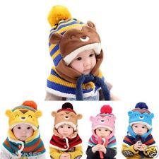 Lindo Invierno Bebé Infantil Cálido Sombreros De Lana Cofia con capucha bufanda
