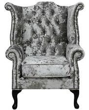 Chesterfield Armchair Queen Anne High Back Wing Chair Lustro Argent Velvet