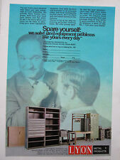 4/1972 PUB LYON METAL PRODUCTS AURORA MOBILIER STEEL EQUIPMENT ORIGINAL AD