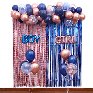 Navy Blue and Rose Gold Gender Reveal Party Decorations Balloon Garland,Boy and