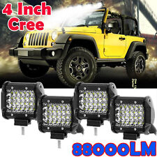 4x 4 inch 800W CREE LED Work Light Bar SPOT FLOOD Quad Row Off Road Worklights