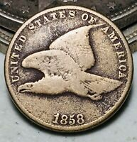 1858 Flying Eagle Cent One Penny 1C Small Letters Civil War Era US Coin CC6664