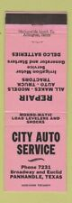 Matchbook Cover - City Auto Service Panhandle TX Delco Batteries