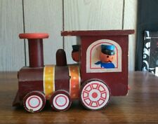 Made in Taiwan vintage wood train conductor locomotive piggy bank