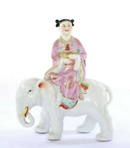Chinese Famille Rose Porcelain Immortal God Deity Ride Elephant Figure Figurine