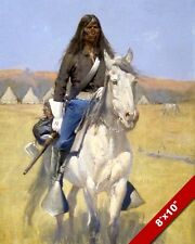 NATIVE AMERICAN INDIAN SCOUT ON HORSE REMINGTON OIL PAINTING ART PRINT ON CANVAS