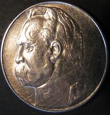10 Zlotych 1936 Pilsudski Poland Polen Vz / Vz+ Silber Silver