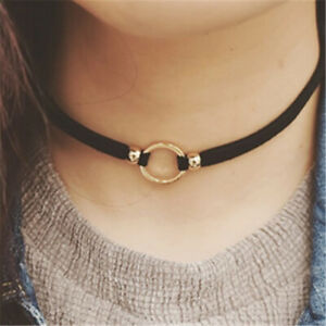 Black Leather Velvet Choker Necklace Layer Chockers Gothic Jewelry Goth Women