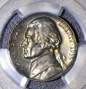1955 5 Cents PCGS MS PR65 Jefferson nickel proof magenta metalic toning JJ008