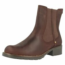 Ladies Clarks Orinoco Club Burgundy Leather Casual Pull On Ankle Boots