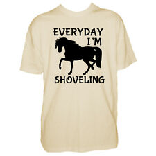 Mens Horse T Shirt - Everyday I'm Shoveling - Equestrian Lover Boys Gift Tshirt