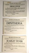 New listing Vintage Scarlet Fever Diphtheria and Smallpox Warning Isolation Signs