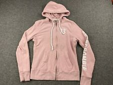 ABERCROMBIE & FITCH WOMEN SIZE MEDIUM FULL ZIP PINK HOODIE SWEATSHIRT EUC