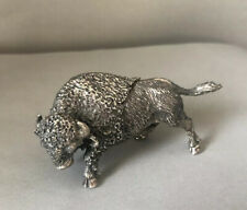 Artist Signed 800 Cast Italian Silver Buffalo Sculpture Figurine
