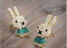 FREE GIFT BAG Cute Gold Plated Xmas Animal Bunny Rabbit Crystal Stud Earrings