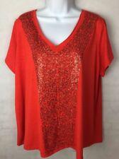 Rafaella Woman SZ 1X Top Orange V-Neck Short Sleeve Knit Sequin Embellished