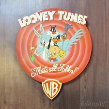 """Looney Tunes VTG """"That's All Folks"""" Round Wooden Sign Large Wood RARE HTF"""