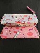 Set of 2 Estee Lauder Pink & White Printed Cosmetic Makeup Bag/Pencil Case