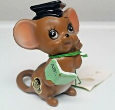 Josef Originals Graduate Mouse Figurine Mouse Village Series Porcelain Hang Tag
