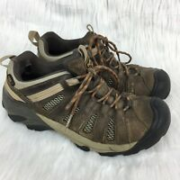 Keen Mens Sz 8 Voyageur Low Leather Athletic Hard Toe Hiking Leather Shoes Brown