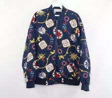 Vintage 90s Women's Size 14 Nautical All Over Print Full Zip Bomber Jacket Blue