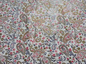 calfskin leather hide skin Blue Red Bronze Paisley Print on White full bodied