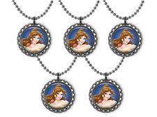 5 Disney Princess BELLE 3D Bottle Cap Necklace Birthday Party Favors