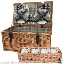 4 Person Picnic Basket Wicker Cane Hamper Set BBQ Camping Beach Travel Caravan