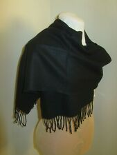 """Made in Scotland Elegant 100% CASHMERE SCARF 64"""" X 12"""" PURE SOLID BLACK Wool"""