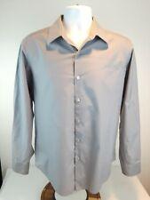 Men's DKNY Size 15 1/2 - 32/33 Medium Slim Fit Gray Long Sleeve Dress Shirt