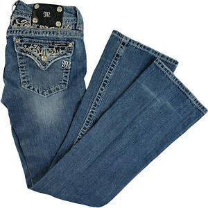"""Miss Me Jeans Bootcut Blue Dark 28 Faded Studded 32.5"""" Low Rise Embellished Logo"""