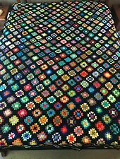 "Granny Squares Afghan Blanket Handmade Crochet Large Multi Color Throw 69""x102"""