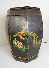ANTIQUE HAND PAINTED CHINESE OCTAGON WOOD RICE BARREL 1893