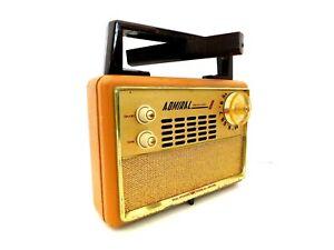 VINTAGE ADMIRAL BRASS COLOR TRIM OLD ANTIQUE TWO SPEAKER TRANSISTOR RADIO WORKS