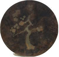 Dinanderie 20ème XXème Delagrange Plat creux Métal décor japonisant arbre rare