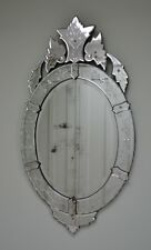 A Large Early 20th Century Venetian Oval Glass Hall Side Table Bedroom Mirror